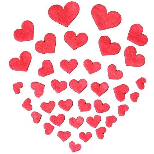 Pandoli Keçe Kırmızı Renkli Süs Kalpler