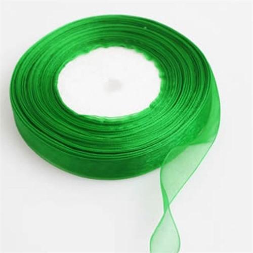 Pandoli Yeşil Renk Düz Organze Kurdele 10 Metre
