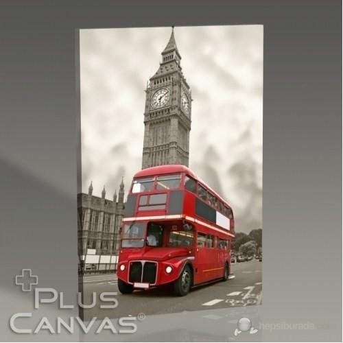 Pluscanvas - London - Red Bus And Big Ben Tablo