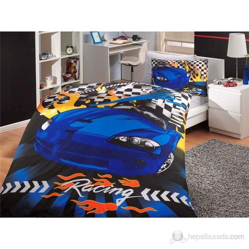 Hobby Deluxe Saten Tek Kişilik Nevresim Takımı Car Racing Mavi