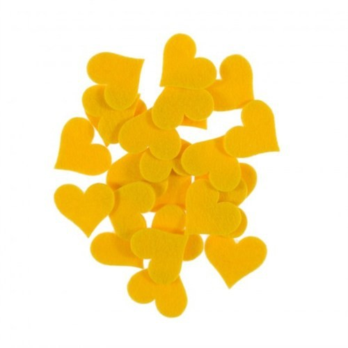 La Mia 25'Li Sarı Büyük Boy Kalp Keçe Motifler Fs309-M09