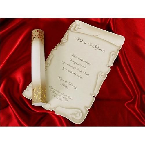 Ferman Kutulu Düğün Davetiye 100 Adet Zarflı