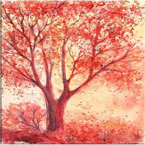 Kırmızı Ağaç Kanvas Tablo