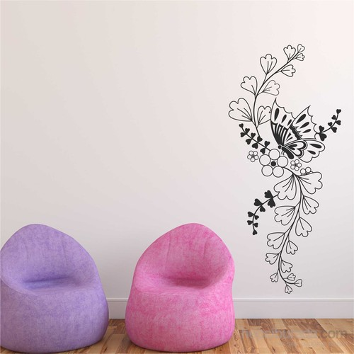 I Love My Wall Floral (F-067)Sticker(Baykuş Sticker Hediye!)