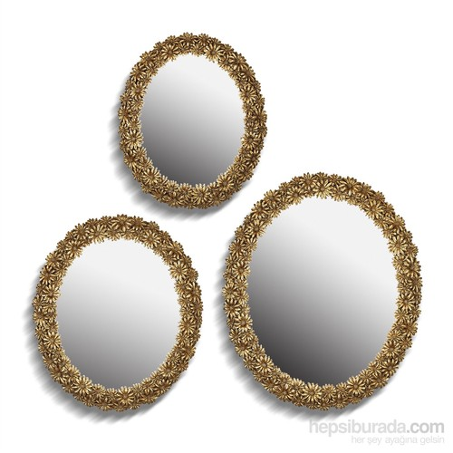 Noble Life Üçlü Daisy Ayna - Altın