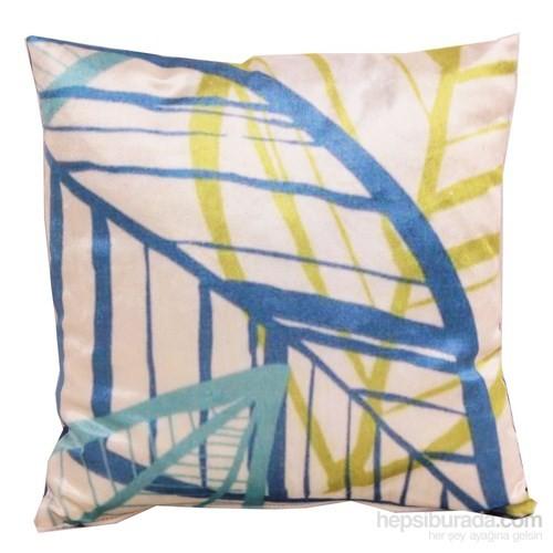 Yastıkminder Kadife Koton Mavi Fıstık Beyaz Yaprak Figürlü Baskılı Dekoratif Yastık