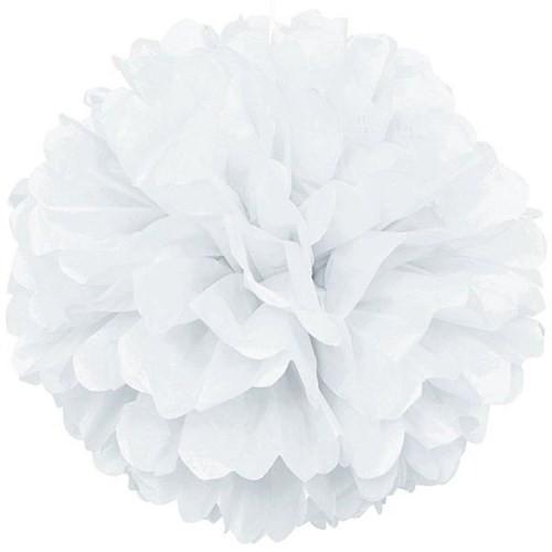 Pandoli 1 Adet Beyaz Renk Pelur Kağıt Ponpon Çiçek Asma Süs 25 Cm
