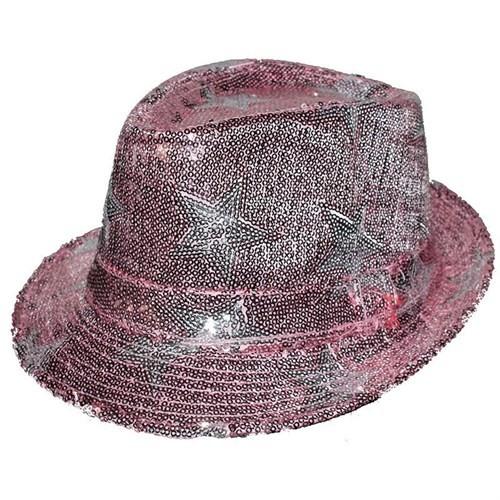 Pandoli Yıldızlı Pullu Pembe Renk Dansçı Şapkası