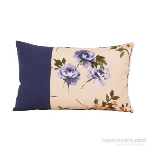 Yastıkminder Koton Mavi Ekru Çiçekli Dekoratif Yastık