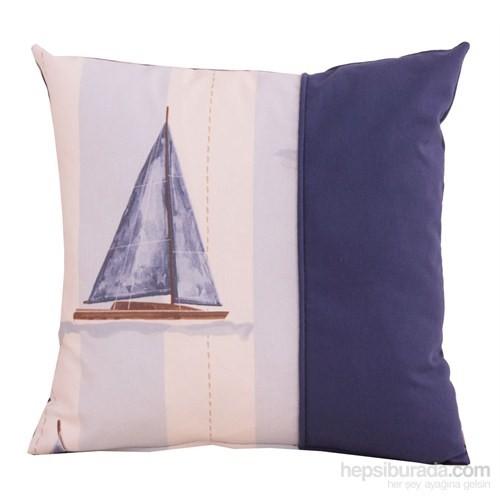 Yastıkminder Koton Ekru Lacivert Yelken Desenli Dekoratif Yastık
