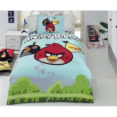 Angry Birds Tek Kişilik Nevresim Takımı Mavi