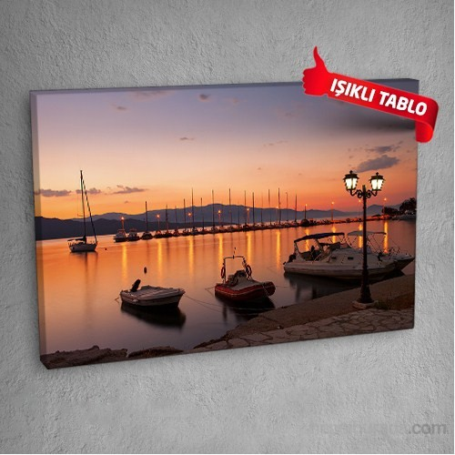 Kıyı Ve Tekneler Led Işıklı Kanvas Tablo 50X70 Cm