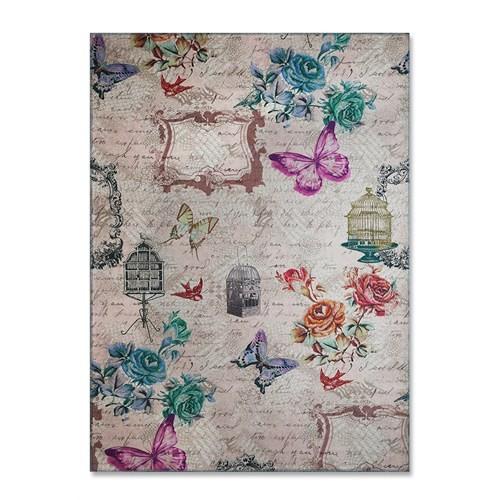 Merlina Home Çiçek Desenli Kadife Halı