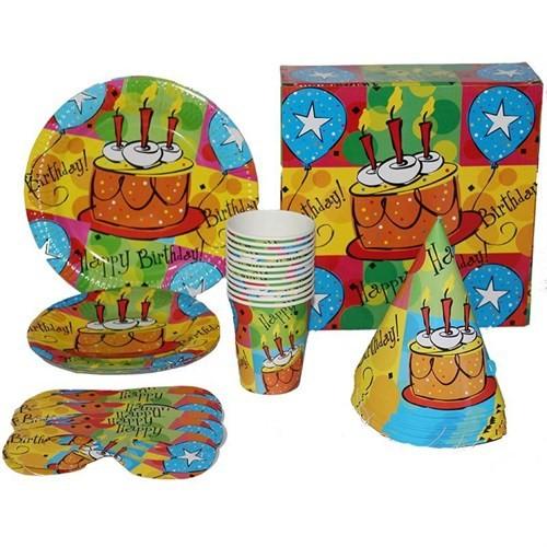 Pandoli Pastalı Happy Birthday 12 Kişilik Parti Seti Yeşil Renk