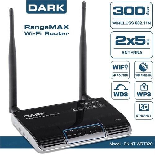 Dark RangeMAX WRT320 802.11n 300Mbit 2x5dBi Antenli Kablosuz Router/Access Point (DK-NT-WRT320)