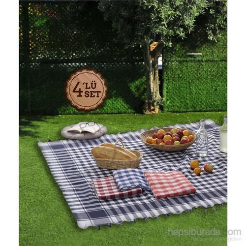 Eponj Home 4'Lü Piknik Örtü Seti 160X160cm Büyük Kareli