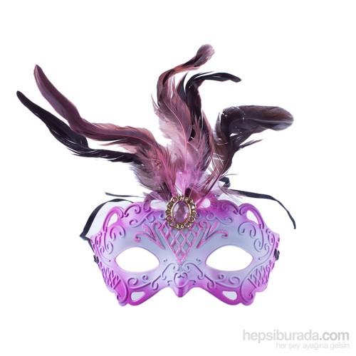 KullanAtMarket Pembe Tüylü Balo Maskesi