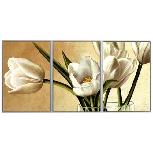 Tictac 3 Parça Kanvas Tablo - Çiçekler