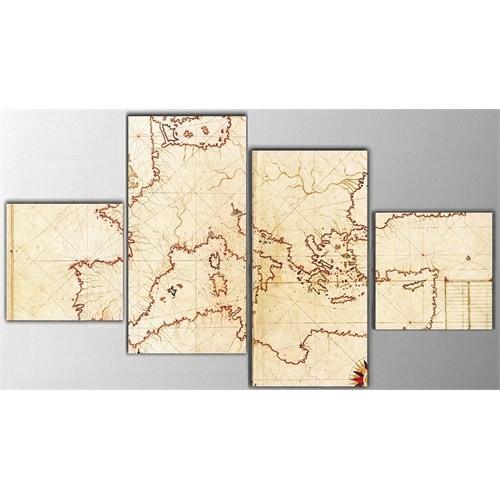 Tictac 4 Parça Kanvas Tablo - Eski Avrupa Harita