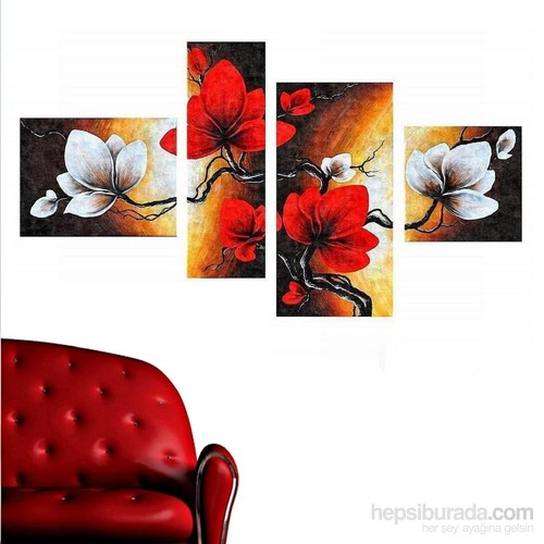 Kırmızı Beyaz Çiçek - 4 Parçalı Kanvas Tablo