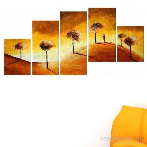 Ağaçlar - 5 Parçalı Kanvas Tablo
