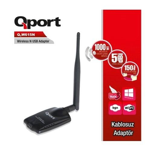 Qport 150 Mbps 11N Harici Usb 5 dbi Tek Anten Wireless Adaptör (Q-W615N)