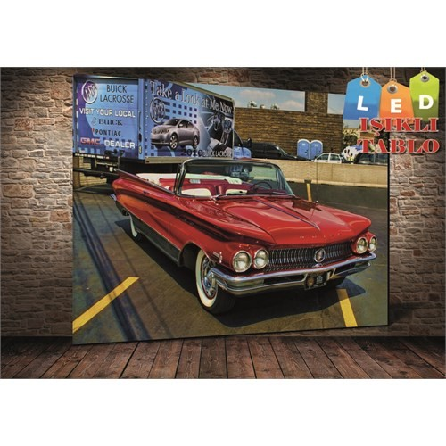 Tablo İstanbul İmpala Kırmızı Araba Led Işıklı Kanvas Tablo 45 X 65 Cm