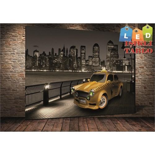 Tablo İstanbul Newyork Sarı Taksi Led Işıklı Kanvas Tablo 45 X 65 Cm