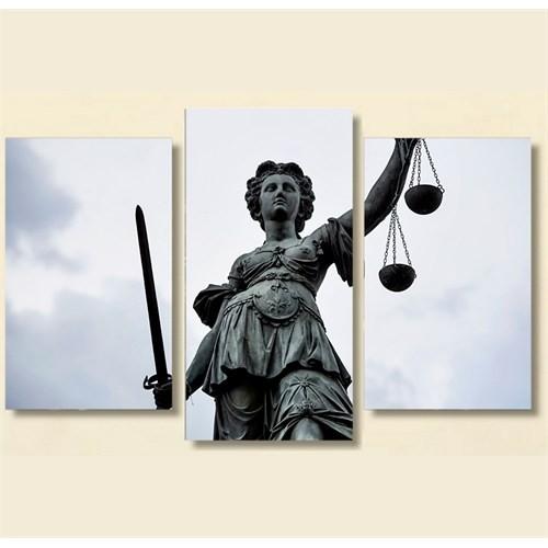 Tictac 3 Parça Kanvas Tablo - Adalet Heykeli