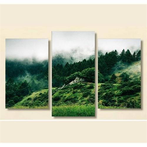 Tictac 3 Parça Kanvas Tablo - Yeşil Orman