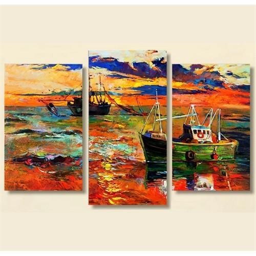 Tictac 3 Parça Kanvas Tablo - Denizdeki Balıkçılar