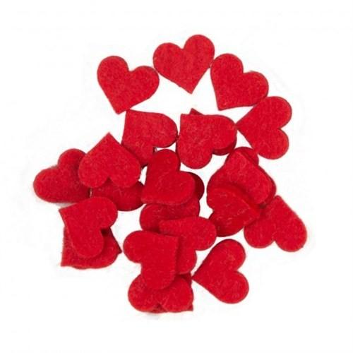 La Mia 25'Li Kırmızı Küçük Boy Kalp Keçe Motifler - Fs307-M13