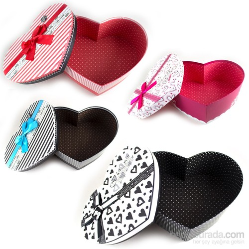 Hardymix Kalp Tasarımlı 3 Farklı Boy Hediye Kutusu-Erkek