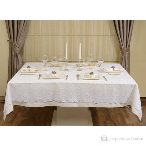Nauge Jaune-Blanc Çift Katlı Masa Örtüsü Takımı 160X220 Cm