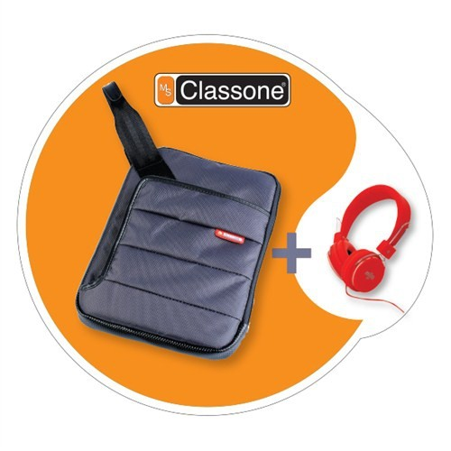 """Classone TBL-U104 Colorful 7-10.1 """" Gri Tablet Çantası + Mila Kulaklık Hediye"""