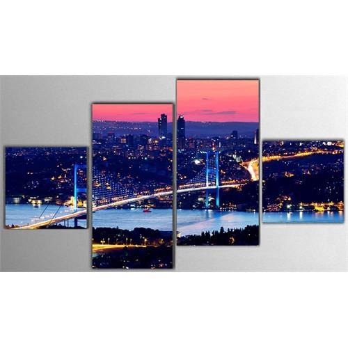 Tictac 4 Parça Kanvas Tablo - İstanbul Boğazı