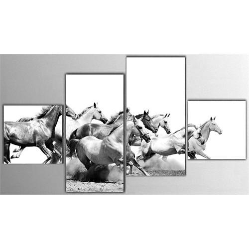 Tictac 4 Parça Kanvas Tablo - Koşan Atlar