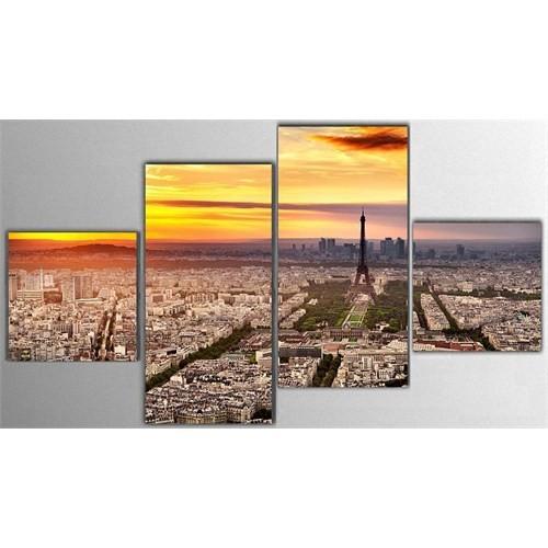Tictac 4 Parça Kanvas Tablo - Paris Eyfel