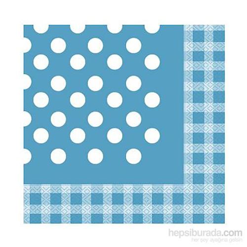KullanAtMarket Mavi Puantiyeli Kagit Peçete 40 Cm X 40 Cm 20 Adet