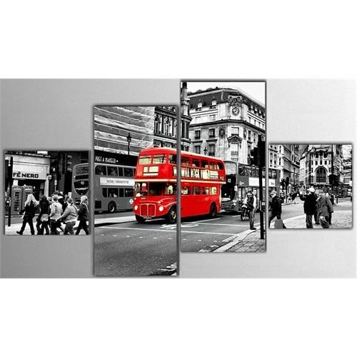Tictac 4 Parça Kanvas Tablo - Londra Otobüsü