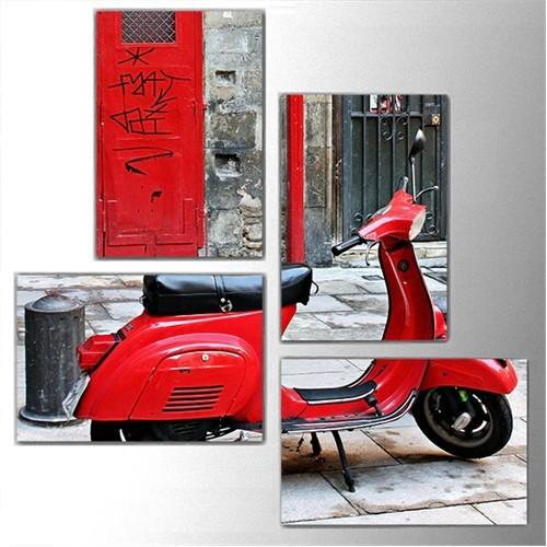 Tictac 4 Parça Kanvas Tablo - Kırmızı Motorsiklet