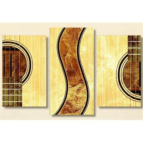 Tictac Gitar - 3 Parçalı Kanvas Tablo