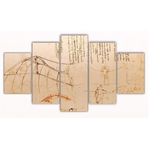 Tictac Leonardo - 5 Parçalı Kanvas Tablo - Büyük Boy