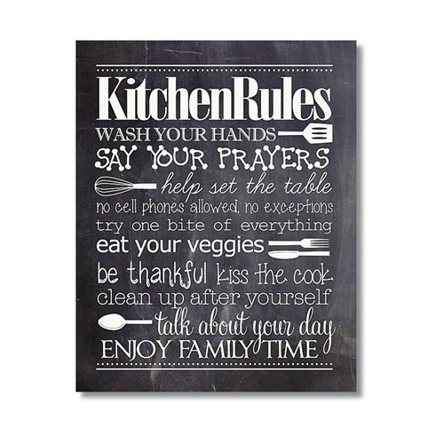 Tictac Kitchen Rules Kara Tahta Kanvas Tablo - 60X90 Cm