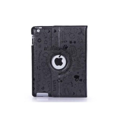 Romeca New iPad/iPad 2 360 Derece Dönebilen Figürlü Siyah Kılıf