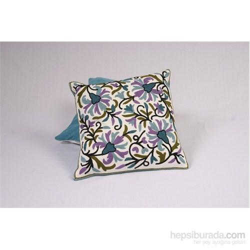 I Love Home Az İşli Yastık Renkli Çiçekli