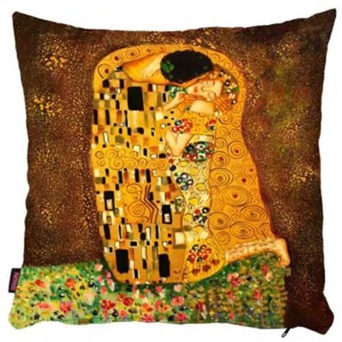 Bengü Accessories Klimp The Kiss Tablo Desenli Dekoratif Yastık 40X40 Cm