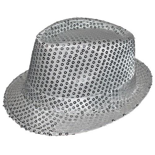Pandoli Gümüş Renk Pullu Michael Jackson Şapkası Şeritli