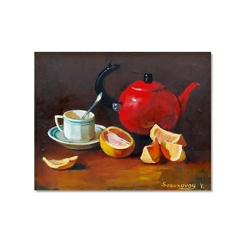 Tictac Kırmızı Çaydanlık Kanvas Tablo - 60X90 Cm