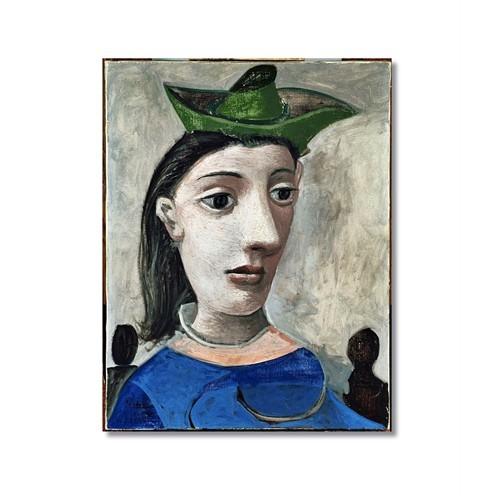 Tictac Picasso Yeşil Şapkalı Kadın Kanvas Tablo - 60X90 Cm